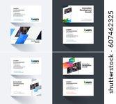 vector business card template... | Shutterstock .eps vector #607462325