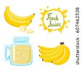vector set of natural fresh... | Shutterstock .eps vector #607462538
