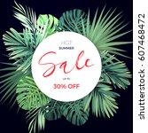 summer hawaiian flyer design... | Shutterstock .eps vector #607468472
