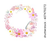 wreath with flowers cosmos ... | Shutterstock .eps vector #607470272
