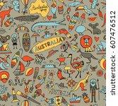 australia icons set  sketch for ... | Shutterstock .eps vector #607476512