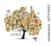 australian map tree with icons... | Shutterstock .eps vector #607476692
