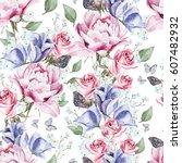 bright watercolor seamless... | Shutterstock . vector #607482932