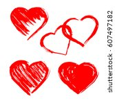 set of hand drawn hearts.... | Shutterstock .eps vector #607497182