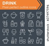 set of thin line drink icons...