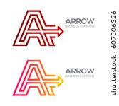 letter a with arrow  finance ... | Shutterstock .eps vector #607506326
