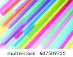 colored plastic tubes in a soft ... | Shutterstock . vector #607509725