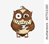 hand drawn sleepy owl with cup... | Shutterstock .eps vector #607512182