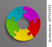 puzzle five color piece...   Shutterstock .eps vector #607514315