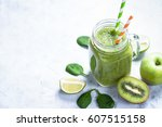 green smoothie. kiwi apple... | Shutterstock . vector #607515158