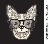 vector face of dog. chihuahua.... | Shutterstock .eps vector #607518356