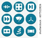 set of 9 arrow filled icons... | Shutterstock .eps vector #607522826