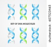 human dna molecule symbols set  ... | Shutterstock .eps vector #607523465