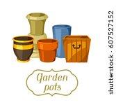 garden pots. background with... | Shutterstock .eps vector #607527152