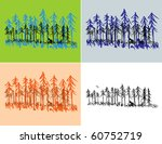 a hand drawn pine forest scene... | Shutterstock .eps vector #60752719