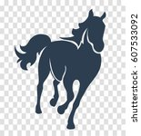 Stock vector silhouette horse icon 607533092