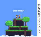 pixel art game scene with... | Shutterstock .eps vector #607534892