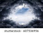 hole of the sky in the dark... | Shutterstock . vector #607536956