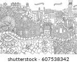 coloring for adult with... | Shutterstock .eps vector #607538342