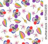 aloha hawaiian shirt seamless... | Shutterstock . vector #607540355