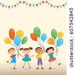 children are jumping with... | Shutterstock .eps vector #607542845