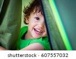 portrait of cute little baby... | Shutterstock . vector #607557032