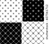 black   white color nautical... | Shutterstock .eps vector #607561712