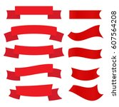 set of red ribbons isolated on... | Shutterstock .eps vector #607564208