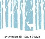 vector forest in winter and a... | Shutterstock .eps vector #607564325