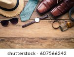 travel clothing accessories... | Shutterstock . vector #607566242
