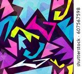 graffiti background seamless... | Shutterstock .eps vector #607567598