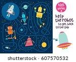 funny maze for children. help... | Shutterstock .eps vector #607570532