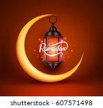 ramadan kareem vector greetings ... | Shutterstock .eps vector #607571498