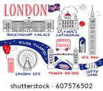 city sightseeing london  ... | Shutterstock .eps vector #607576502
