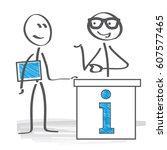 advices. stick figure needs an... | Shutterstock .eps vector #607577465