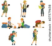 people with backpacks are... | Shutterstock .eps vector #607579658
