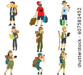 people with backpacks are... | Shutterstock .eps vector #607581452