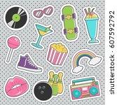 set of fun trendy vintage... | Shutterstock .eps vector #607592792