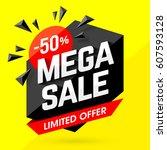 mega sale banner design vector... | Shutterstock .eps vector #607593128