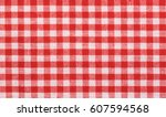 red checkered tablecloth fabric ... | Shutterstock . vector #607594568
