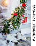 christmas gifts  skates  are... | Shutterstock . vector #607595012