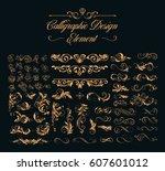 calligraphic design elements  | Shutterstock .eps vector #607601012