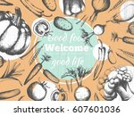 poster with organic products.... | Shutterstock .eps vector #607601036