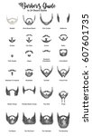 barbers guide for beard styles... | Shutterstock .eps vector #607601735