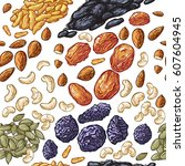 vector dried fruits pattern.... | Shutterstock .eps vector #607604945