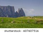 schlern sciliar ridge with... | Shutterstock . vector #607607516