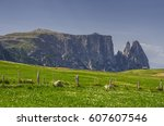 schlern sciliar ridge with... | Shutterstock . vector #607607546