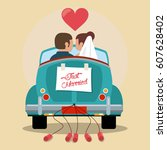 just married couple in love car | Shutterstock .eps vector #607628402