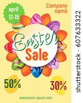 bright poster for sale on... | Shutterstock .eps vector #607633322
