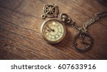 vintage pocket watch necklace... | Shutterstock . vector #607633916